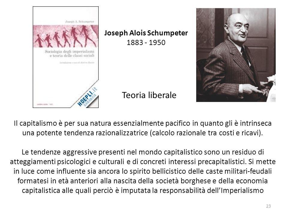 Joseph Alois Schumpeter 1883 - 1950 Il capitalismo è per sua natura essenzialmente pacifico in quanto gli è intrinseca una potente tendenza razionaliz