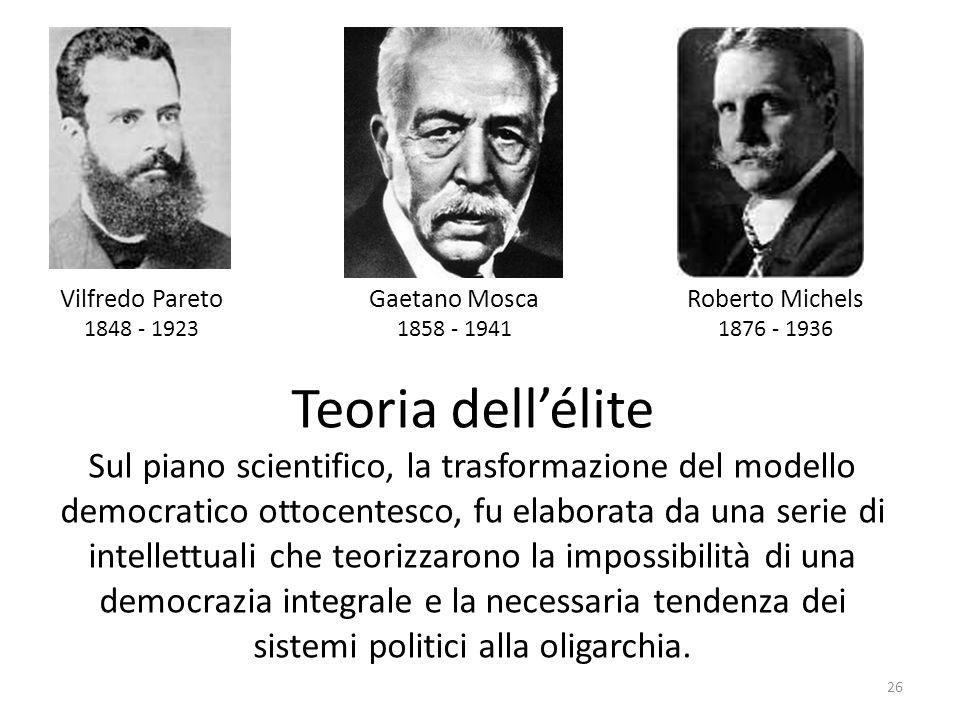 26 Vilfredo Pareto 1848 - 1923 Gaetano Mosca 1858 - 1941 Roberto Michels 1876 - 1936 Teoria dellélite Sul piano scientifico, la trasformazione del mod