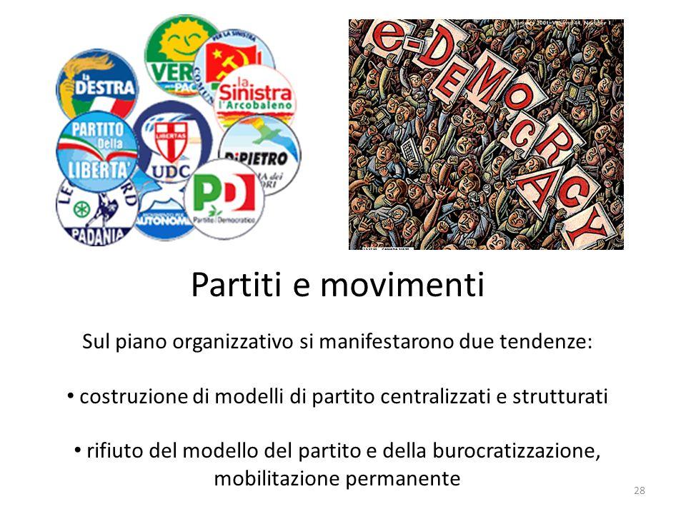 28 Partiti e movimenti Sul piano organizzativo si manifestarono due tendenze: costruzione di modelli di partito centralizzati e strutturati rifiuto de
