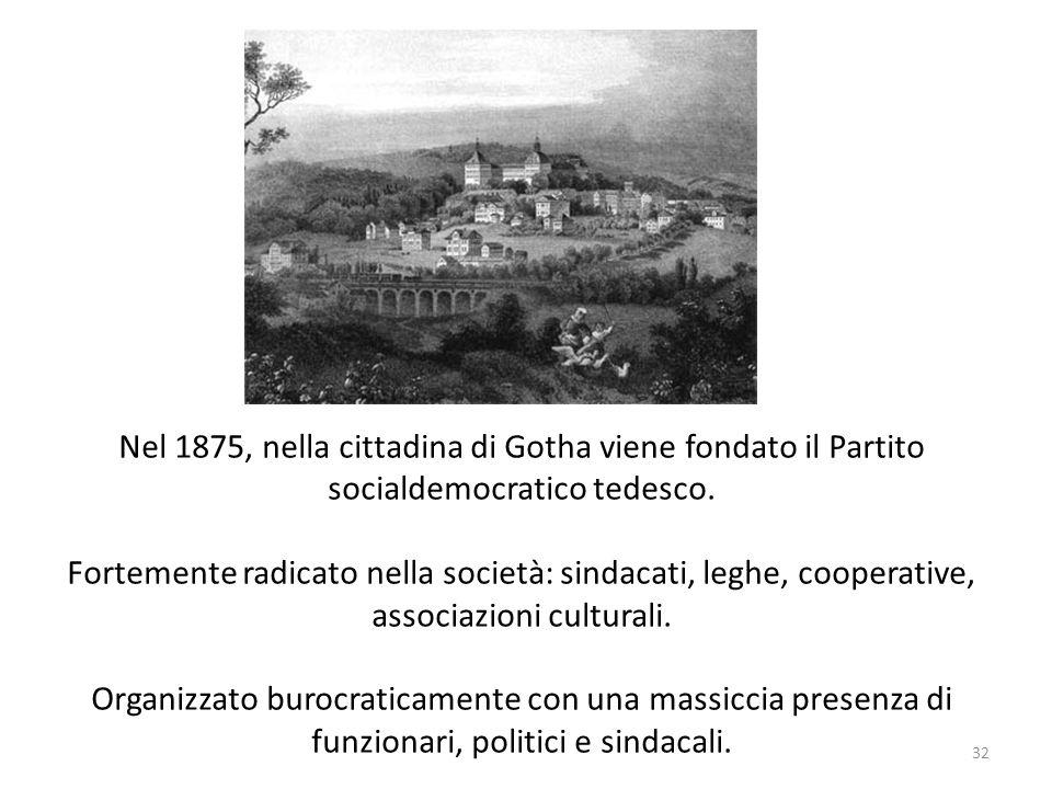 32 Nel 1875, nella cittadina di Gotha viene fondato il Partito socialdemocratico tedesco. Fortemente radicato nella società: sindacati, leghe, coopera