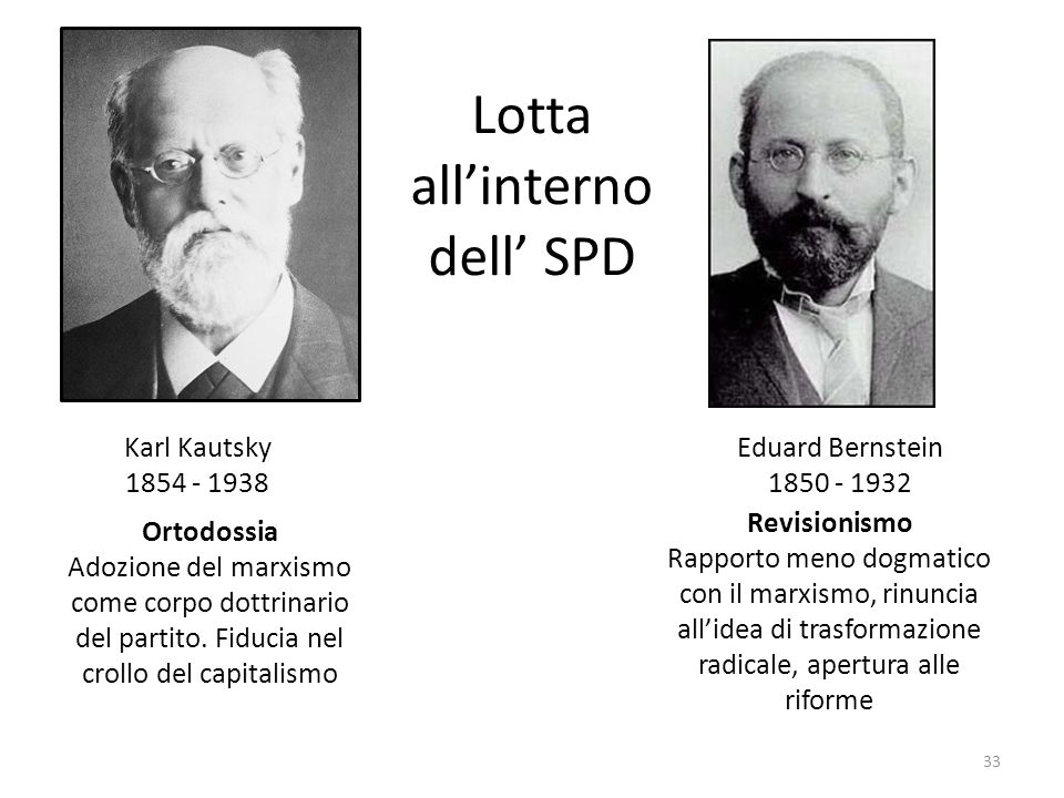 33 Karl Kautsky 1854 - 1938 Eduard Bernstein 1850 - 1932 Revisionismo Rapporto meno dogmatico con il marxismo, rinuncia allidea di trasformazione radi