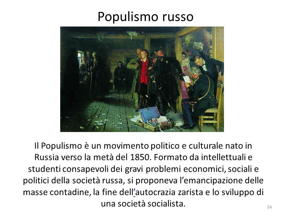 34 Populismo russo Il Populismo è un movimento politico e culturale nato in Russia verso la metà del 1850. Formato da intellettuali e studenti consape