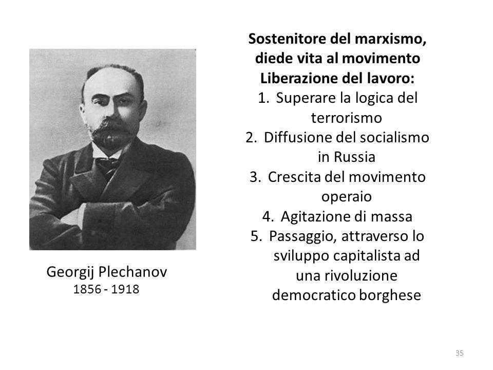 35 Georgij Plechanov 1856 - 1918 Sostenitore del marxismo, diede vita al movimento Liberazione del lavoro: 1.Superare la logica del terrorismo 2.Diffu
