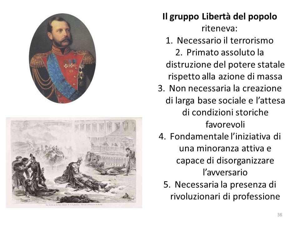 36 Il gruppo Libertà del popolo riteneva: 1.Necessario il terrorismo 2.Primato assoluto la distruzione del potere statale rispetto alla azione di mass