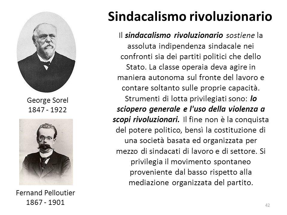 42 Il sindacalismo rivoluzionario sostiene la assoluta indipendenza sindacale nei confronti sia dei partiti politici che dello Stato. La classe operai