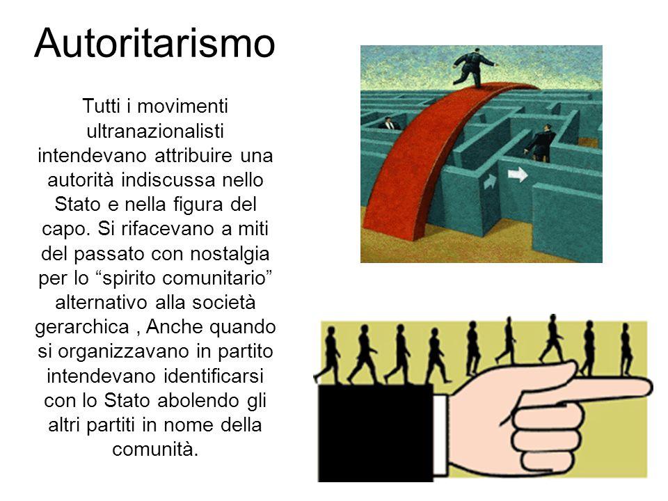 53 Autoritarismo Tutti i movimenti ultranazionalisti intendevano attribuire una autorità indiscussa nello Stato e nella figura del capo. Si rifacevano