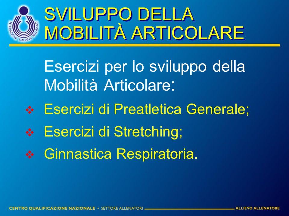 SVILUPPO DELLA MOBILITÀ ARTICOLARE Esercizi per lo sviluppo della Mobilità Articolare : Esercizi di Preatletica Generale; Esercizi di Stretching; Ginn