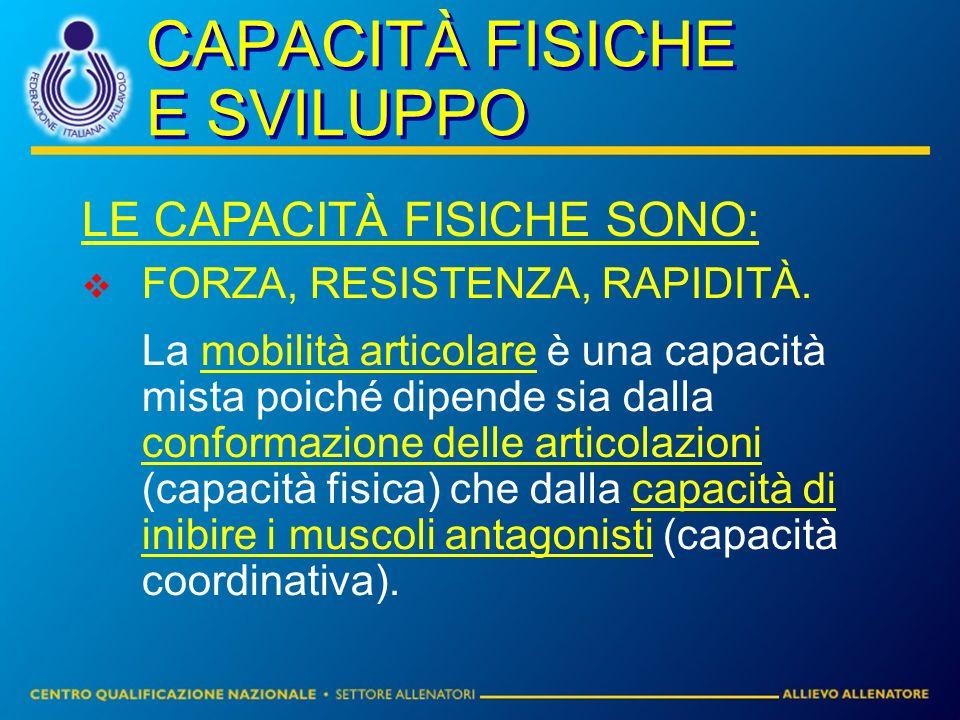CAPACITÀ FISICHE E SVILUPPO LE CAPACITÀ FISICHE SONO: FORZA, RESISTENZA, RAPIDITÀ. La mobilità articolare è una capacità mista poiché dipende sia dall
