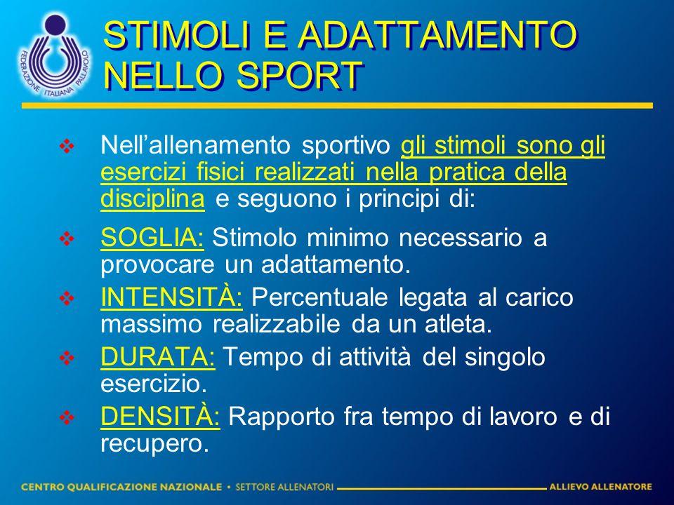 STIMOLI E ADATTAMENTO NELLO SPORT Nellallenamento sportivo gli stimoli sono gli esercizi fisici realizzati nella pratica della disciplina e seguono i