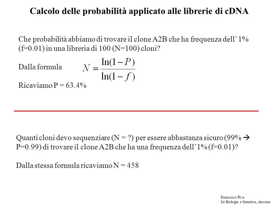 Calcolo delle probabilità applicato alle librerie di cDNA Che probabilità abbiamo di trovare il clone A2B che ha frequenza dell 1% (f=0.01) in una libreria di 100 (N=100) cloni.