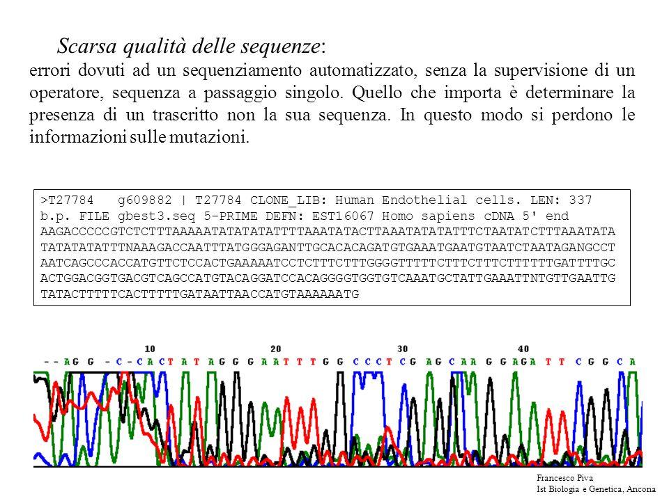 Scarsa qualità delle sequenze: errori dovuti ad un sequenziamento automatizzato, senza la supervisione di un operatore, sequenza a passaggio singolo.