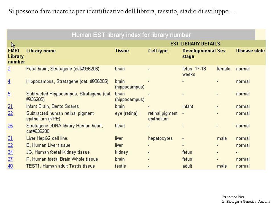 Si possono fare ricerche per identificativo dell librera, tassuto, stadio di sviluppo… Francesco Piva Ist Biologia e Genetica, Ancona