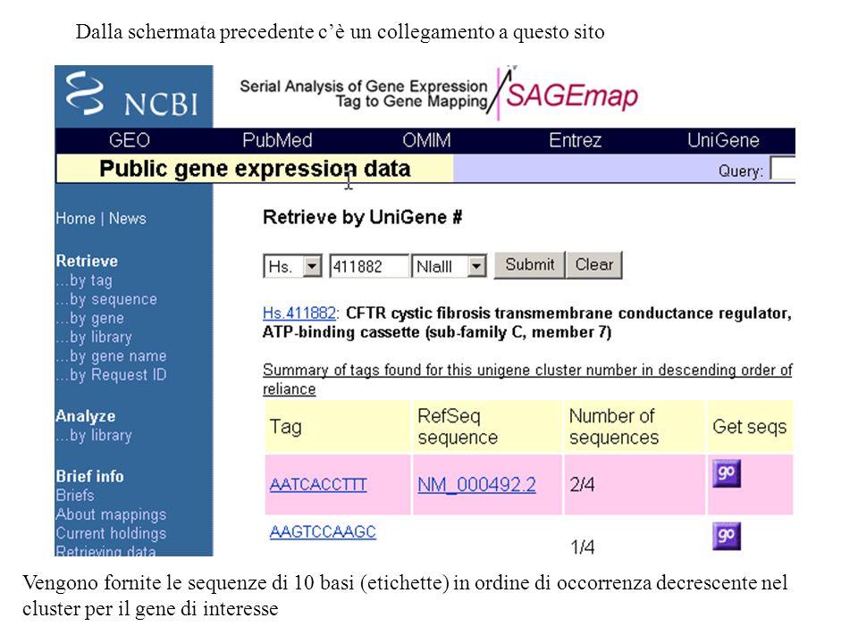 Dalla schermata precedente cè un collegamento a questo sito Vengono fornite le sequenze di 10 basi (etichette) in ordine di occorrenza decrescente nel cluster per il gene di interesse