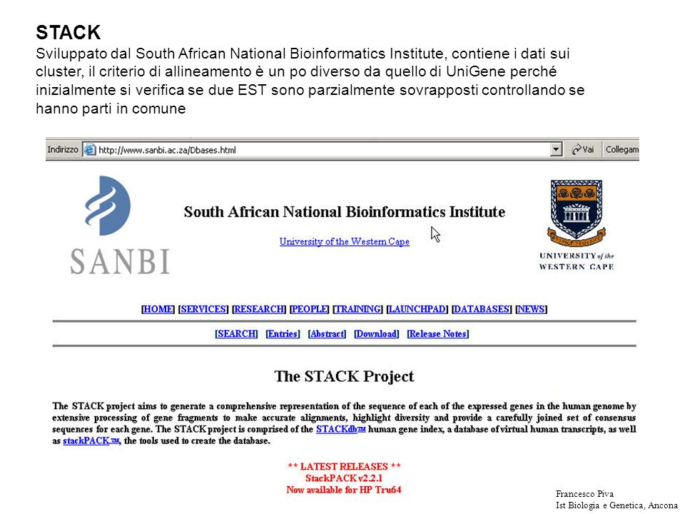 STACK Sviluppato dal South African National Bioinformatics Institute, contiene i dati sui cluster, il criterio di allineamento è un po diverso da quello di UniGene perché inizialmente si verifica se due EST sono parzialmente sovrapposti controllando se hanno parti in comune Francesco Piva Ist Biologia e Genetica, Ancona