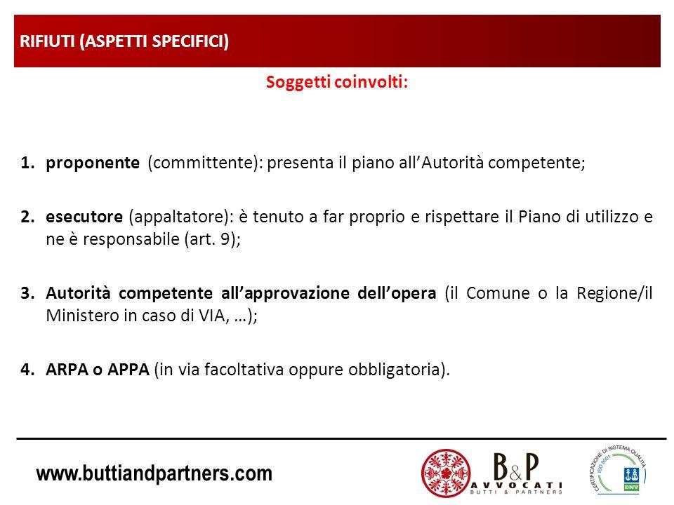 www.buttiandpartners.com RIFIUTI (ASPETTI SPECIFICI) Soggetti coinvolti: 1.proponente (committente): presenta il piano allAutorità competente; 2.esecu