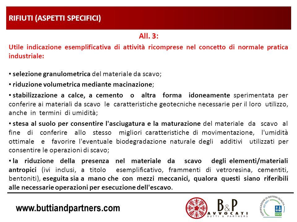 www.buttiandpartners.com RIFIUTI (ASPETTI SPECIFICI) All. 3: Utile indicazione esemplificativa di attività ricomprese nel concetto di normale pratica