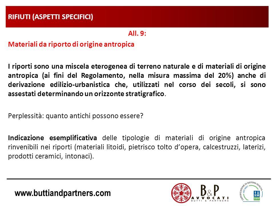 www.buttiandpartners.com RIFIUTI (ASPETTI SPECIFICI) All. 9: Materiali da riporto di origine antropica I riporti sono una miscela eterogenea di terren