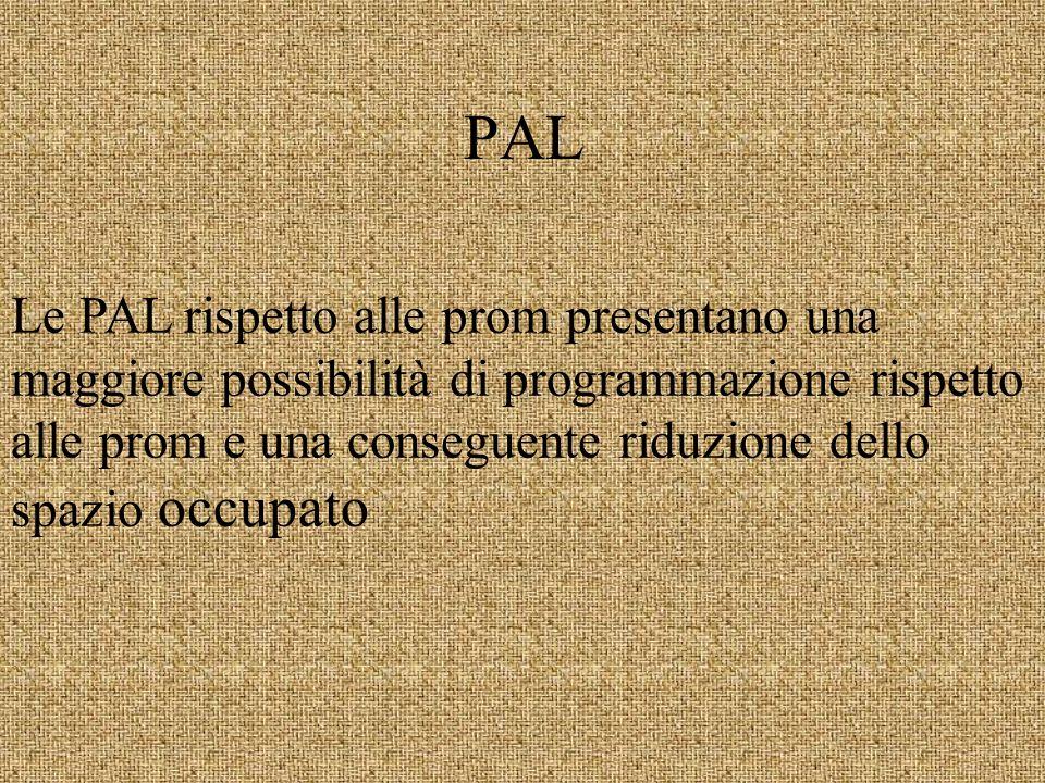 PAL Le PAL rispetto alle prom presentano una maggiore possibilità di programmazione rispetto alle prom e una conseguente riduzione dello spazio occupato
