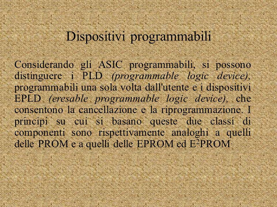 Dispositivi programmabili Considerando gli ASIC programmabili, si possono distinguere i PLD (programmable logic device), programmabili una sola volta dall utente e i dispositivi EPLD (eresable programmable logic device), che consentono la cancellazione e la riprogrammazione.