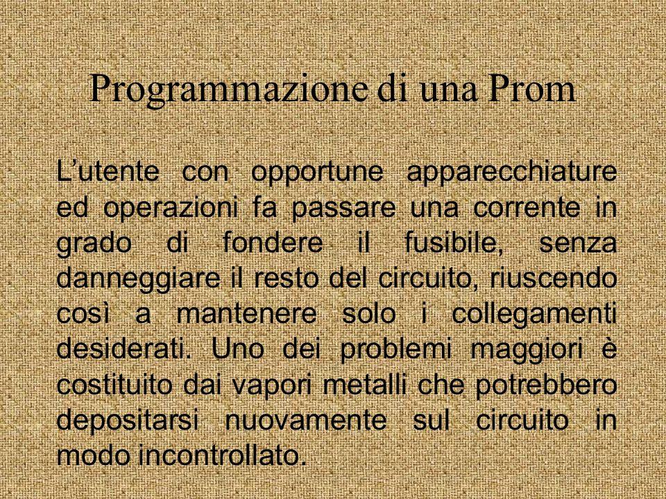 Struttura di una Prom Matrice and fissa Matrice or programmabile Linee ingresso Linee prodottoUscite