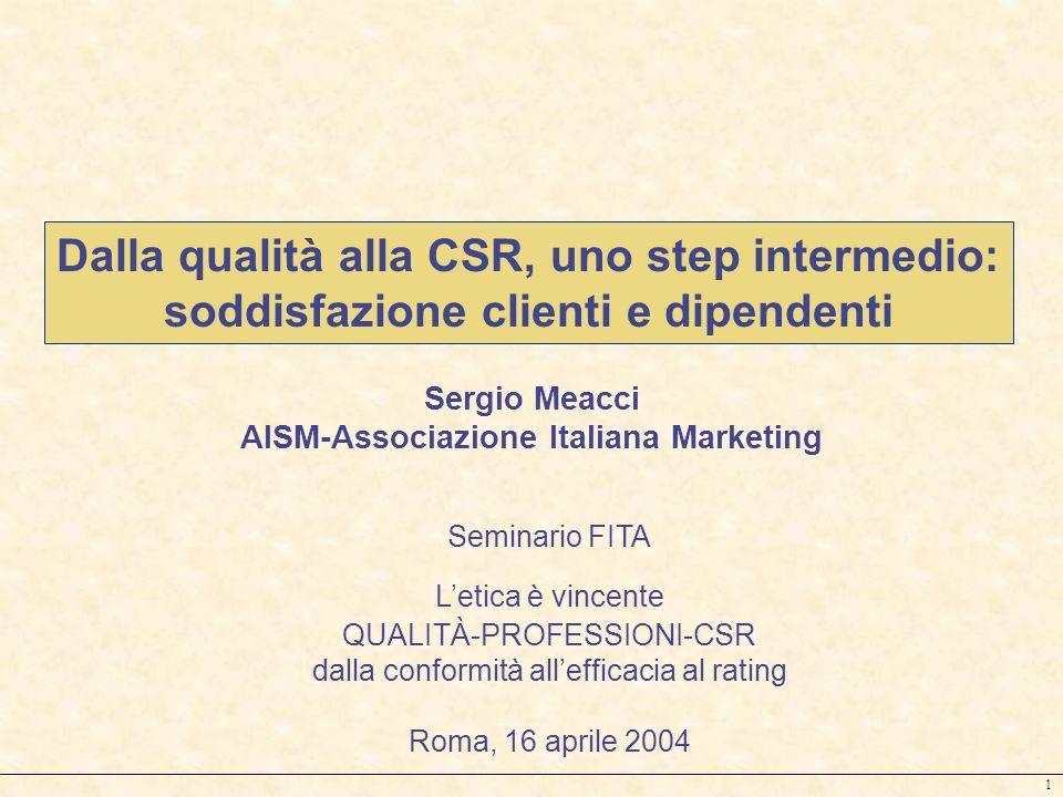 1 Sergio Meacci AISM-Associazione Italiana Marketing Dalla qualità alla CSR, uno step intermedio: soddisfazione clienti e dipendenti Seminario FITA Le