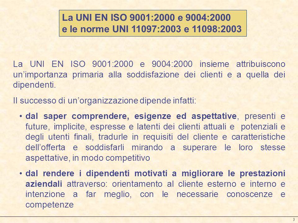 3 La UNI EN ISO 9001:2000 e 9004:2000 insieme attribuiscono unimportanza primaria alla soddisfazione dei clienti e a quella dei dipendenti. Il success