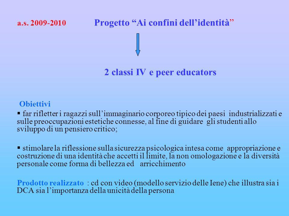 a.s. 2009-2010 Progetto Ai confini dellidentità 2 classi IV e peer educators Obiettivi far rifletter i ragazzi sullimmaginario corporeo tipico dei pae
