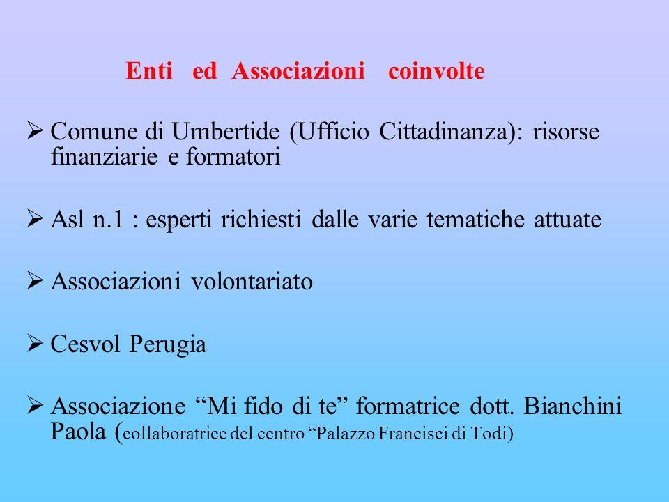 Enti ed Associazioni coinvolte Comune di Umbertide (Ufficio Cittadinanza): risorse finanziarie e formatori Asl n.1 : esperti richiesti dalle varie tematiche attuate Associazioni volontariato Cesvol Perugia Associazione Mi fido di te formatrice dott.