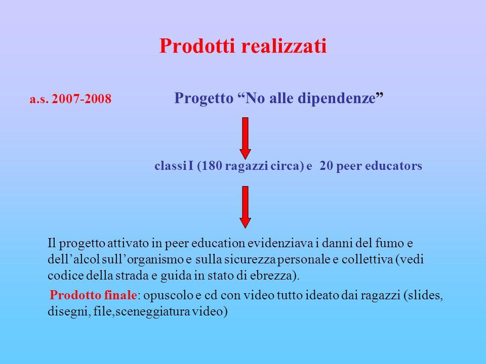 Prodotti realizzati a.s. 2007-2008 Progetto No alle dipendenze classi I (180 ragazzi circa) e 20 peer educators Il progetto attivato in peer education