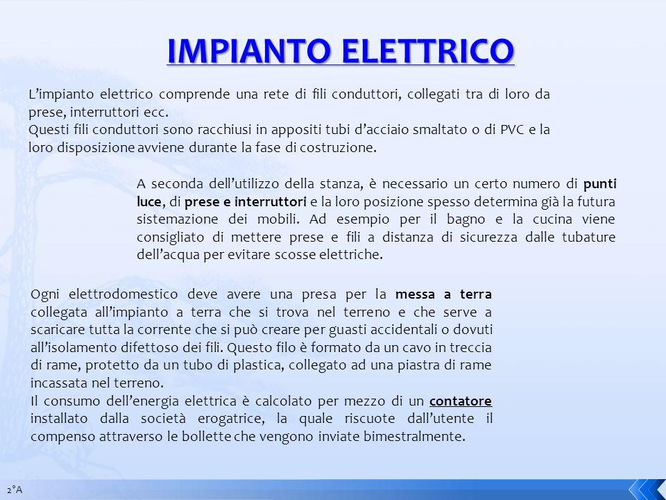 IMPIANTO ELETTRICO Limpianto elettrico comprende una rete di fili conduttori, collegati tra di loro da prese, interruttori ecc. Questi fili conduttori