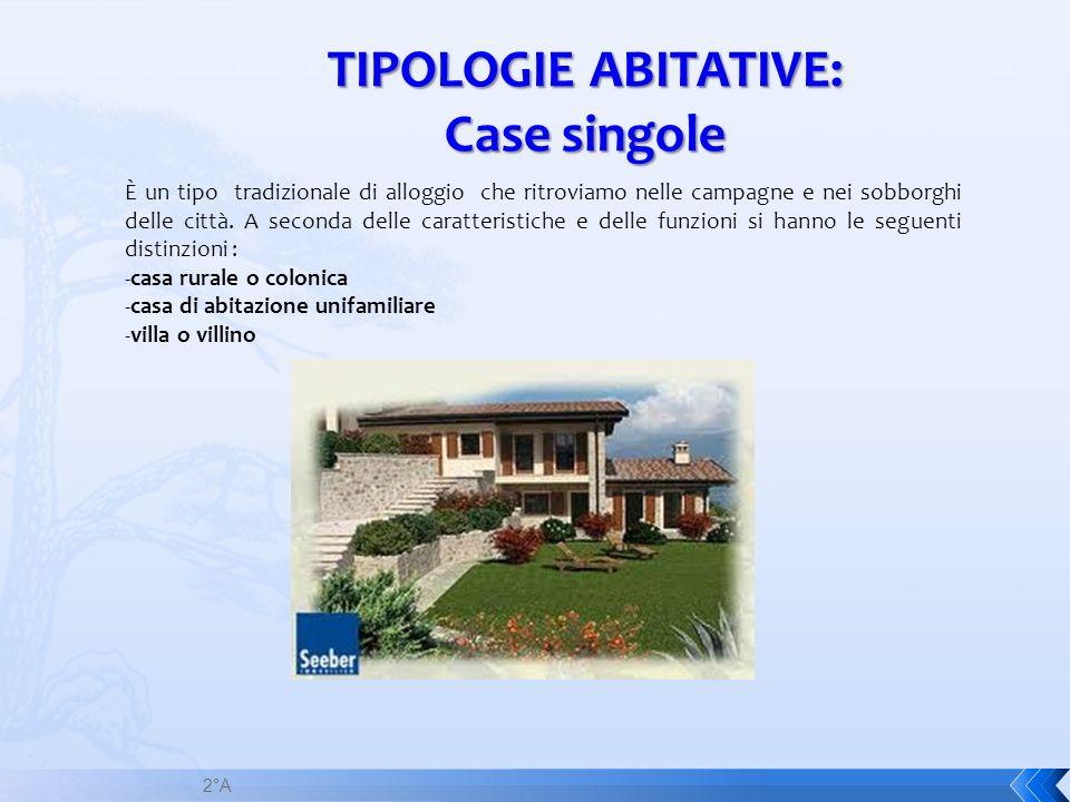 TIPOLOGIE ABITATIVE: Case singole È un tipo tradizionale di alloggio che ritroviamo nelle campagne e nei sobborghi delle città. A seconda delle caratt
