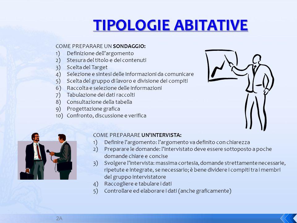 2A TIPOLOGIE ABITATIVE COME PREPARARE UN SONDAGGIO: 1)Definizione dellargomento 2)Stesura del titolo e dei contenuti 3)Scelta del Target 4)Selezione e