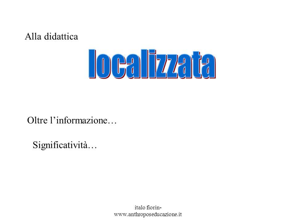 italo fiorin- www.anthroposeducazione.it Alla didattica Oltre linformazione… Significatività…