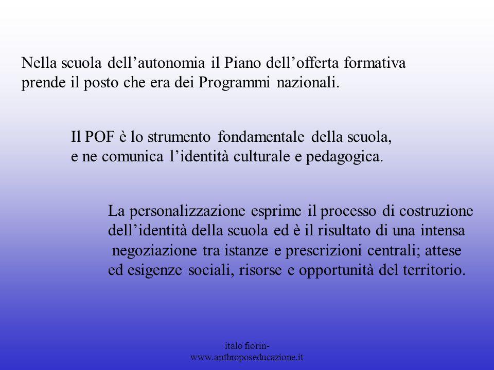 italo fiorin- www.anthroposeducazione.it Nella scuola dellautonomia il Piano dellofferta formativa prende il posto che era dei Programmi nazionali.