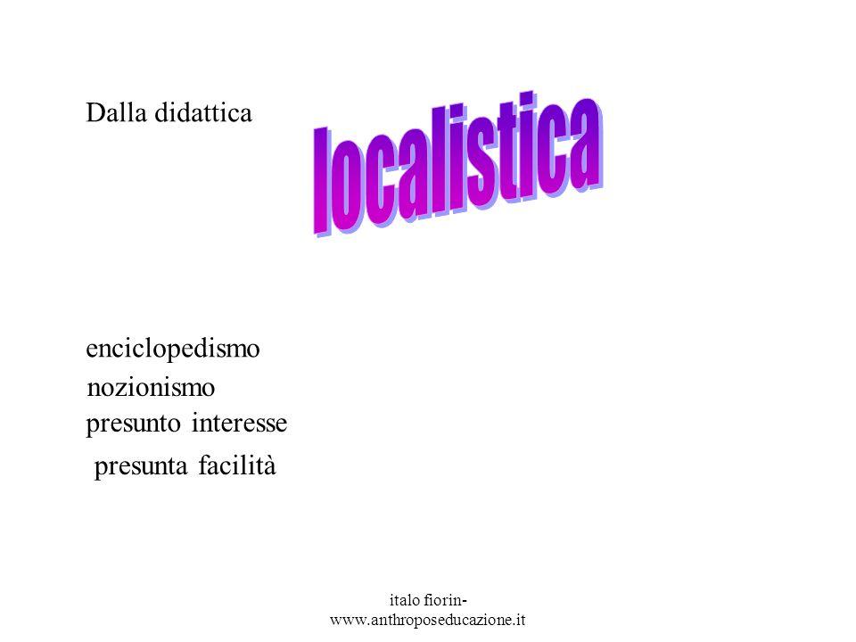 italo fiorin- www.anthroposeducazione.it enciclopedismo nozionismo presunto interesse presunta facilità Dalla didattica
