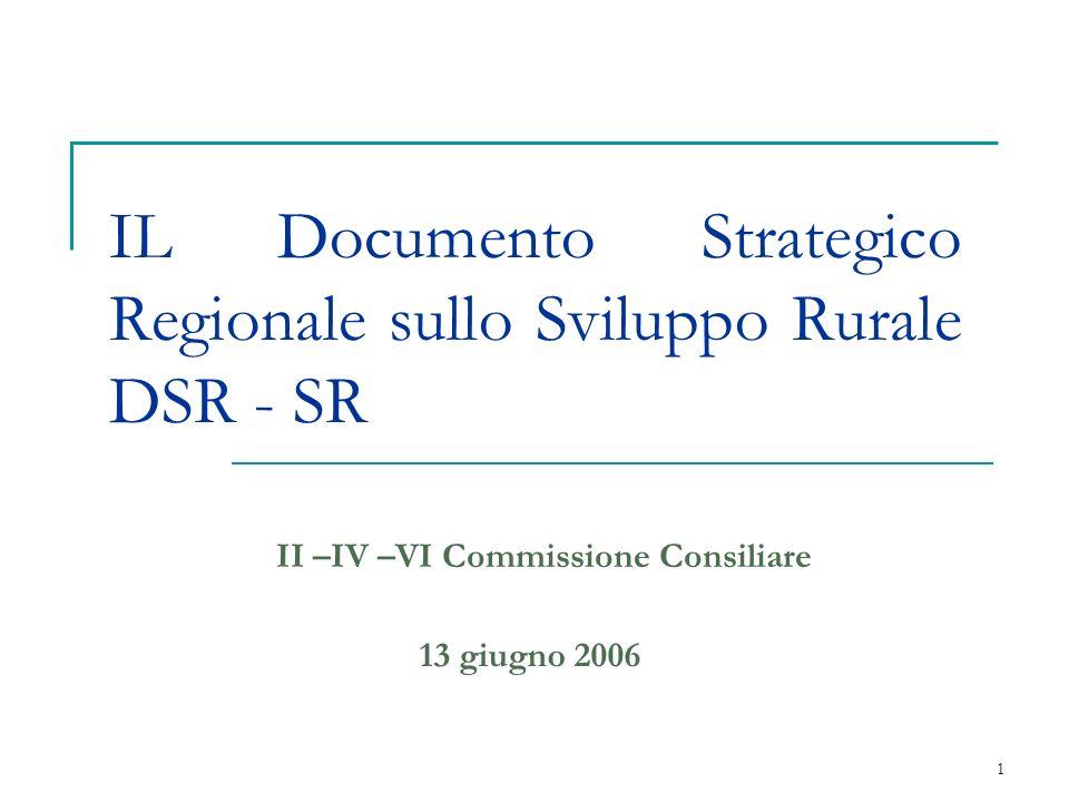 1 IL Documento Strategico Regionale sullo Sviluppo Rurale DSR - SR II –IV –VI Commissione Consiliare 13 giugno 2006