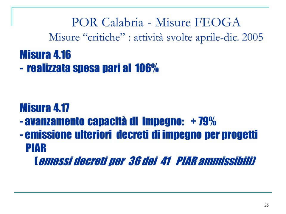 25 POR Calabria - Misure FEOGA Misure critiche : attività svolte aprile-dic.
