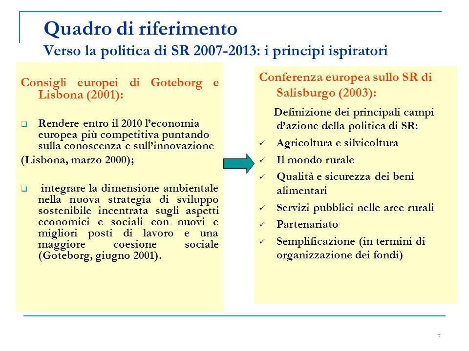 7 Quadro di riferimento Verso la politica di SR 2007-2013: i principi ispiratori Consigli europei di Goteborg e Lisbona (2001): Rendere entro il 2010 leconomia europea più competitiva puntando sulla conoscenza e sullinnovazione (Lisbona, marzo 2000); integrare la dimensione ambientale nella nuova strategia di sviluppo sostenibile incentrata sugli aspetti economici e sociali con nuovi e migliori posti di lavoro e una maggiore coesione sociale (Goteborg, giugno 2001).