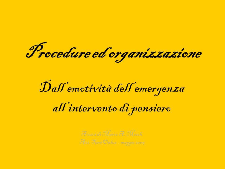 Procedure ed organizzazione Dallemotività dellemergenza allintervento di pensiero A cura di Marco A. Moioli Ass. Tiarè Onlus - maggio 2005