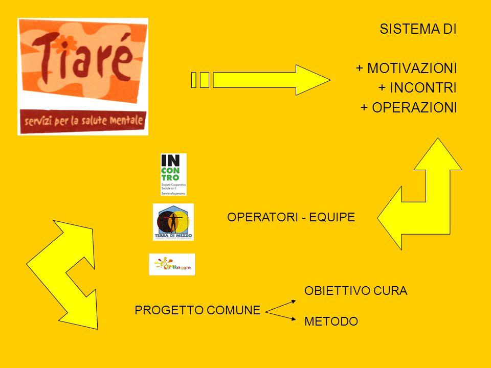 SISTEMA DI + MOTIVAZIONI + INCONTRI + OPERAZIONI OPERATORI - EQUIPE PROGETTO COMUNE OBIETTIVO CURA METODO