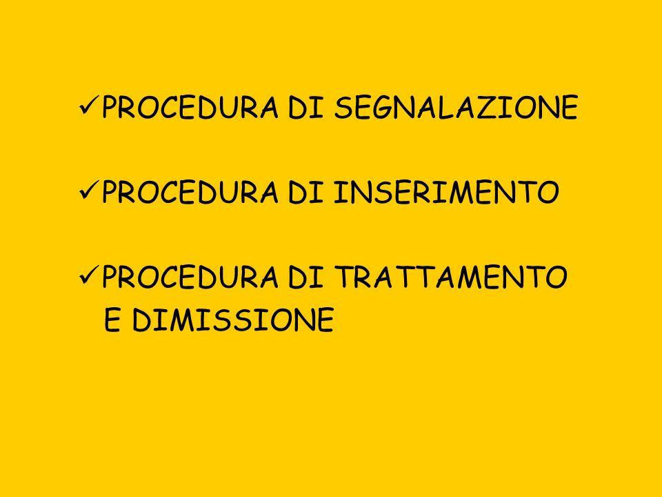 PROCEDURA DI SEGNALAZIONE PROCEDURA DI INSERIMENTO PROCEDURA DI TRATTAMENTO E DIMISSIONE