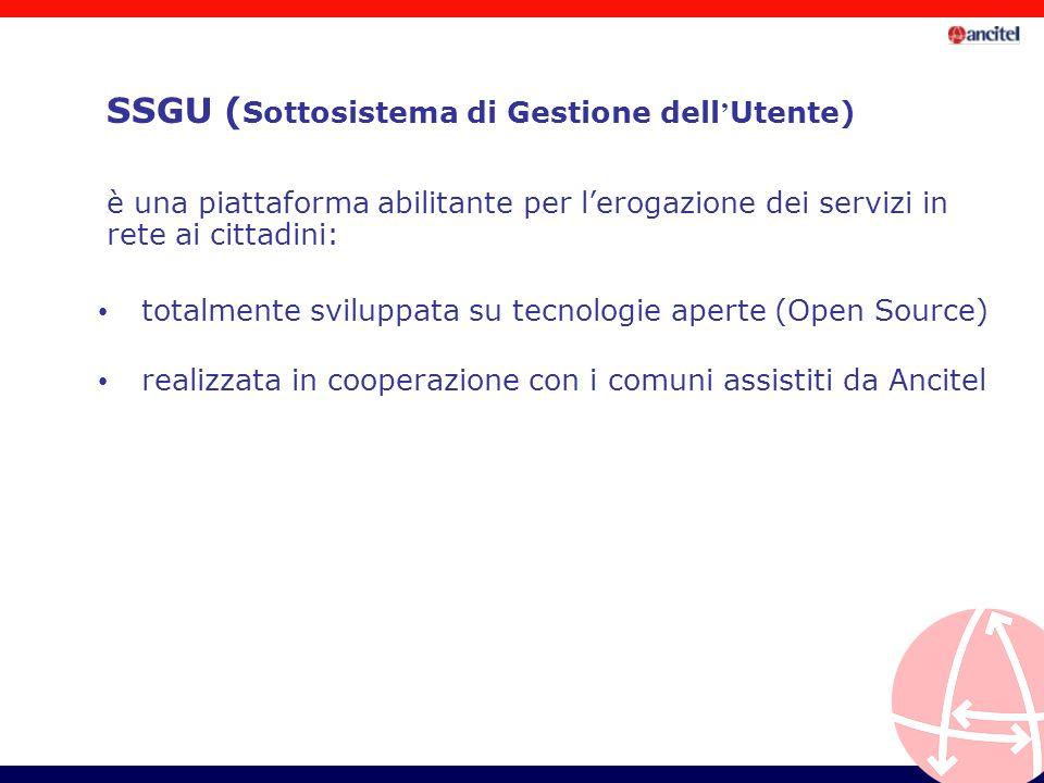 SSGU ( Sottosistema di Gestione dell Utente) totalmente sviluppata su tecnologie aperte (Open Source) è una piattaforma abilitante per lerogazione dei servizi in rete ai cittadini: realizzata in cooperazione con i comuni assistiti da Ancitel