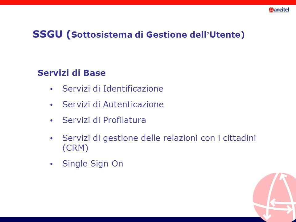 Servizi di Identificazione Servizi di Autenticazione Servizi di Profilatura Servizi di gestione delle relazioni con i cittadini (CRM) Single Sign On Servizi di Base SSGU ( Sottosistema di Gestione dell Utente)