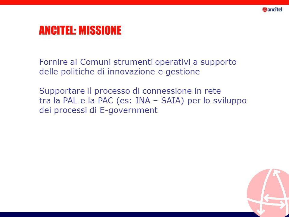 ANCITEL: MISSIONE Fornire ai Comuni strumenti operativi a supporto delle politiche di innovazione e gestione Supportare il processo di connessione in rete tra la PAL e la PAC (es: INA – SAIA) per lo sviluppo dei processi di E-government