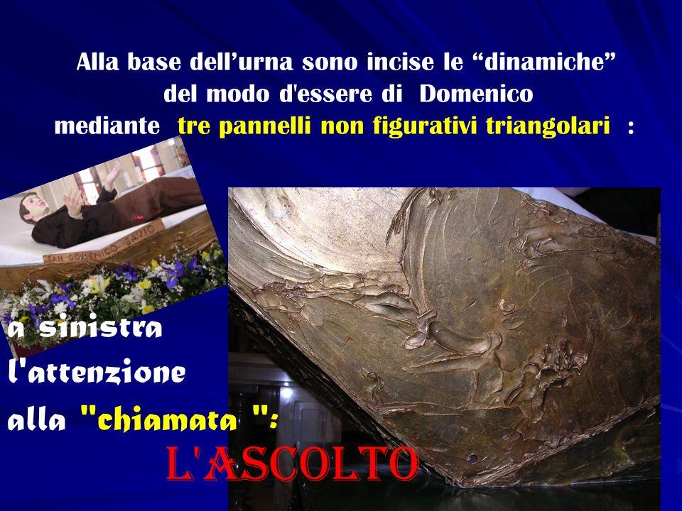 Alla base dellurna sono incise le dinamiche del modo d'essere di Domenico mediante tre pannelli non figurativi triangolari : a sinistra l'attenzione a