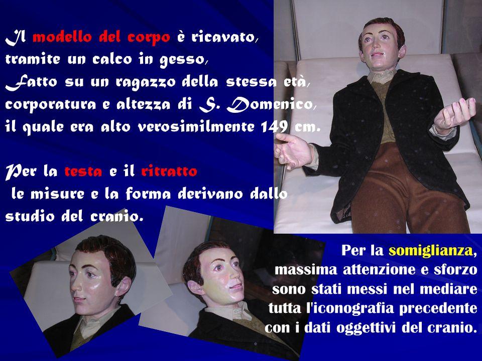 Il modello del corpo è ricavato, tramite un calco in gesso, Fatto su un ragazzo della stessa età, corporatura e altezza di S. Domenico, il quale era a