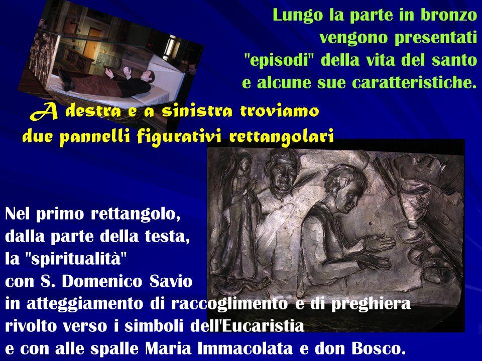 Nel secondo rettangolo, dalla parte dei piedi, lazione: Domenico Savio accoglie e accudisce chi ha bisogno.
