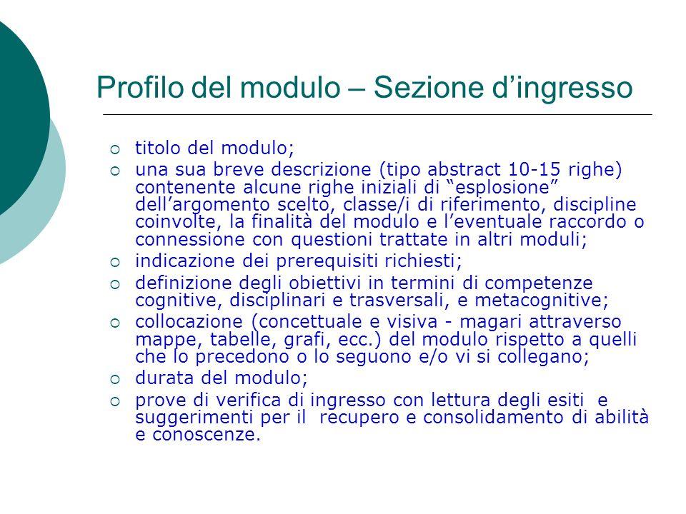 Profilo del modulo – Sezione dingresso titolo del modulo; una sua breve descrizione (tipo abstract 10-15 righe) contenente alcune righe iniziali di es