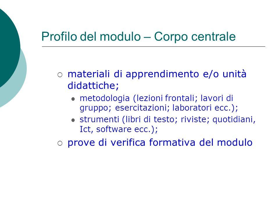 Profilo del modulo – Corpo centrale materiali di apprendimento e/o unità didattiche; metodologia (lezioni frontali; lavori di gruppo; esercitazioni; l