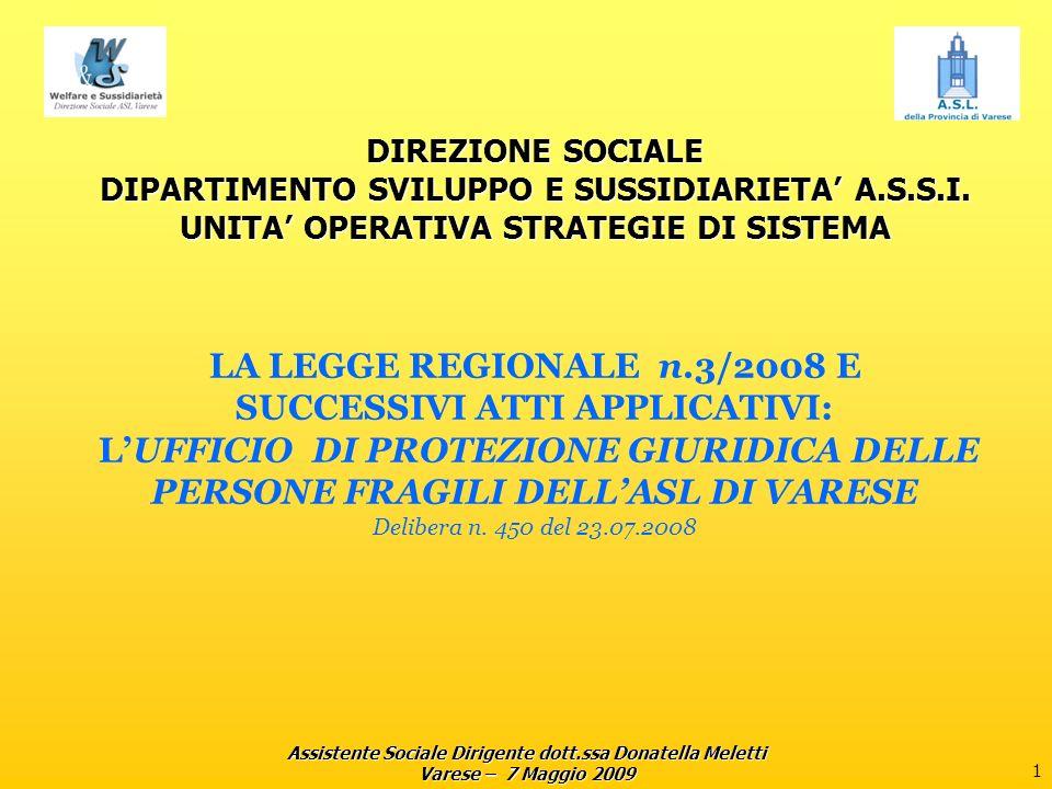 Assistente Sociale Dirigente dott.ssa Donatella Meletti Varese – 7 Maggio 2009 2 UFFICIO DI PROTEZIONE GIURIDICA Normativa di riferimento: L.R.